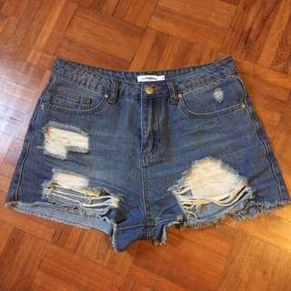 Temt Denim High Waisted Ripped Shorts