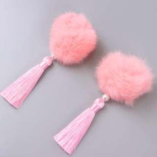 Light pink fury ball clips 2 pcs