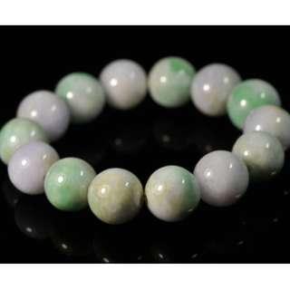Green Lavender Certificate 100% Natural Grade A Jade Jadeite Beads Bracelet