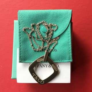 Genuine preloved Tiffany & Co 1837 square pendant necklace