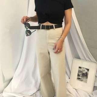韓國歐膩高腰寬褲