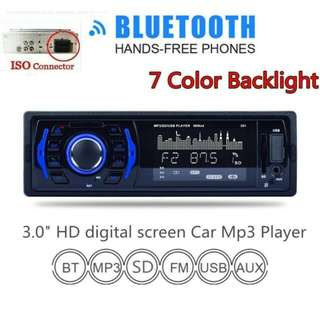 3 Inch 1 DIN In-Dash Bluetooth 7 Color Light Car Stereo FM Radio MP3 Audio Player Aux Input / SD / USB / MP3