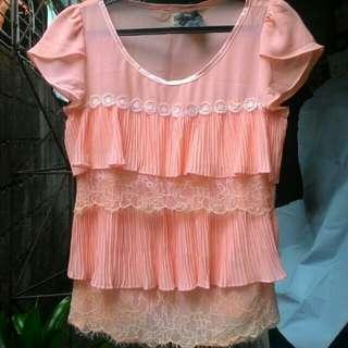 Peach / Pink chiffon layered blouse