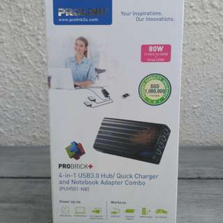 Prolink 4-in-1 USB3.0 hub/ quick charger and notebook adapter combo