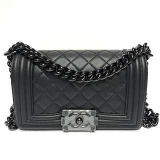 Authentic Chanel Small Boy SO BLACK