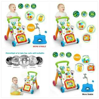 Baby walking trolley + drawing board + music + mini phone