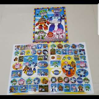Robocar Poli Coloring book with stckers