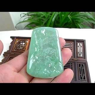 缅甸天然A货翡翠 水润 绿色山水牌