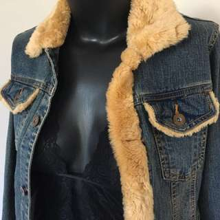 Cute Retro Vintage Style Denim Fur Coat Jacket