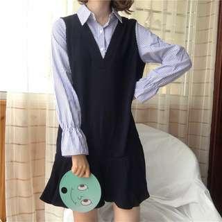 假兩件連衣裙拼接條紋喇叭袖學生百搭休閒荷葉邊短裙