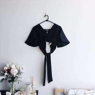 Boohoo black crop