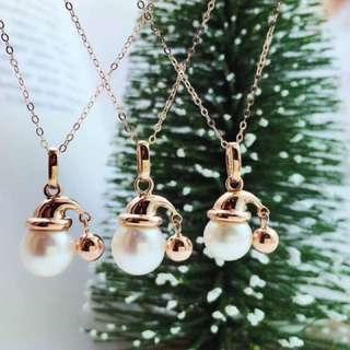18k 金聖誕帽珍珠項鍊