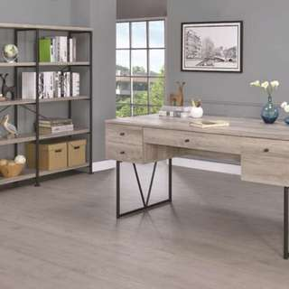 Grey Driftwood Industrial Writing Desk Home Office Table