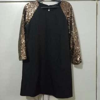 Black dress w/ sequined sleeves