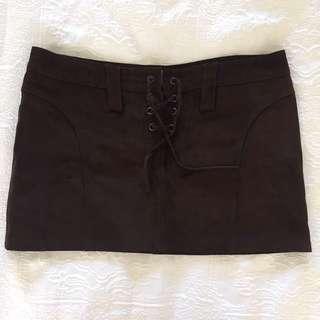 Vintage Suede Brown Mini Skirt