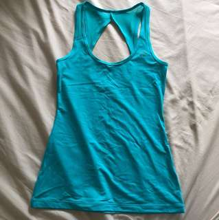 AS NEW Lorna Jane sports gym activewear top teal mesh details XS