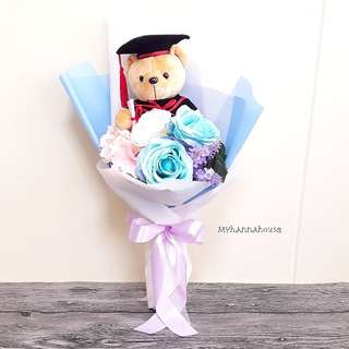 Faux Flower 🌼🌸 Blue Roses and Graduation Bear Bouquet