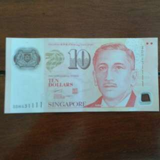 S/No. 3DH431111 Singapore $10 Currency Note.