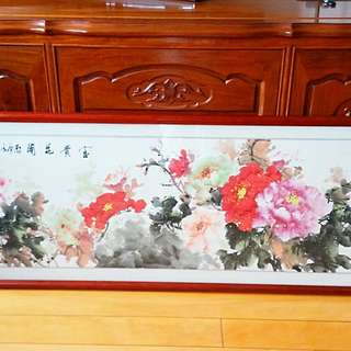 花梨木框牡丹盛開圖🌸Rosewood frame peony Chinese style artwork