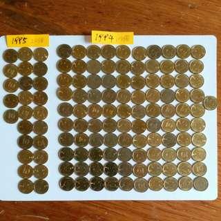 🖐香港硬幣1毫👉全部有磁鐵👉1994年101個👉1995年25個👉共126個