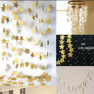 Stars garland. Party. Party decor. Gold stars. Silver stars.