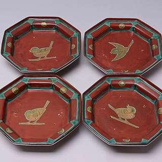 描金手繪八角形瓷果子器