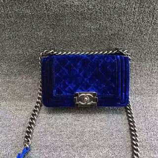 Authentic Chanel le boy in blue velvet
