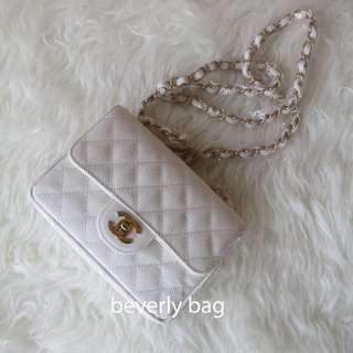 READY jual tas Chanel Slingbag Caviar LEATHER MIRROR - white GHW
