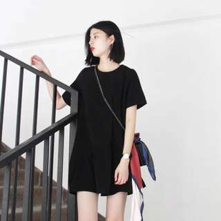 (PO) Summer Casual Loose Plain Black Round Neck Fluffy T Shirt Dress With Scaf