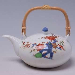 香蘭社白瓷彩繪茶壺