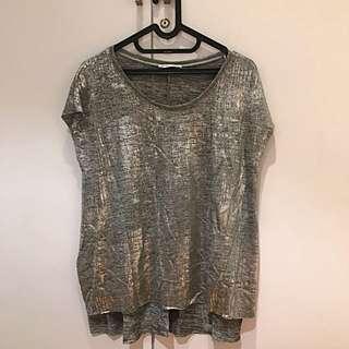 Zara Trendy Silver Top (Size M)