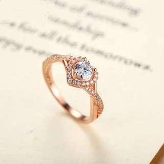 Heart Shape Rose Gold CZ Ring