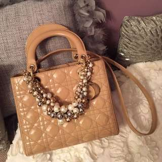 Authentic Lady Dior In Nude Patent