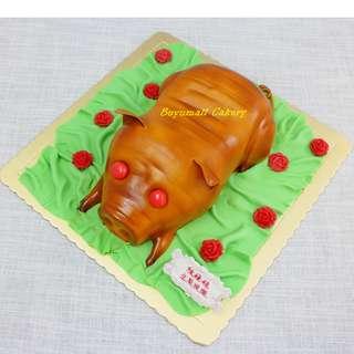 3D 立體 乳豬BB Roasted Piglet 賀壽 興功 B款 Party 生日蛋糕 Birthday Cake