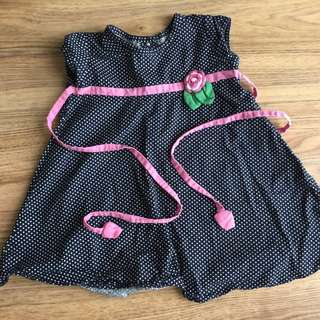 Baby little black gown with polka