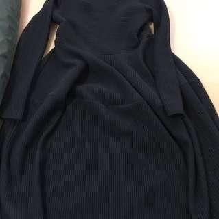 黑色針織長裙