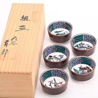 九谷燒高級窯園九谷青郊作手繪五鳥茶杯
