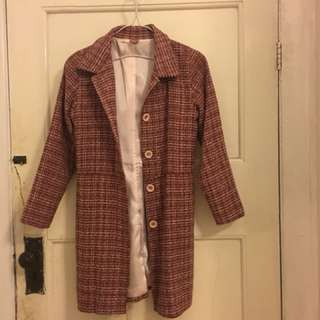 Pink tweed skirt and blazer 2 piece outfit size 12