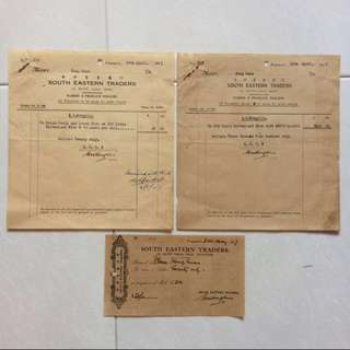 Old / Vintage Invoice - Set of 3 Dated 1947 Invoices by South Eastern Traders (Each $2 , all 3 for $5)