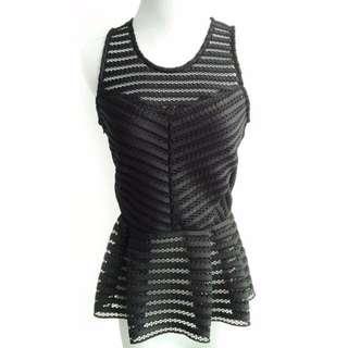 Inspired of Zara,  Crotchet Peplum Top, Black, Free Size