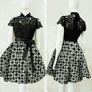 TiaCR Mischa Black Monochrome - Dress Hitam Putih - Dress batik prada - dress brukat