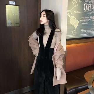 秋冬新款韓版時尚高腰寬松減齡背帶長褲女休閒褲氣質直筒闊腿褲女