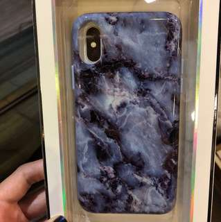 iPhone X Marble Phone Case (Blue/Purple)