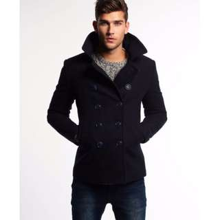Superdry Navy Winter Coat for Men (Size M)