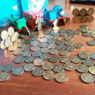 香港硬幣五毫子1993年👉全部有磁鐵👉共139個