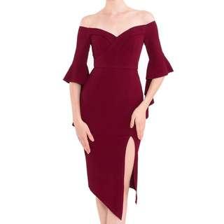 Dress merah slit baju pesta red sabrina