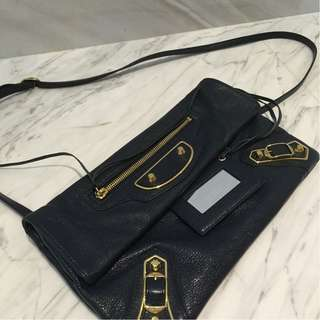Balenciaga Metallic Edge Envelope Crossbosy in Navy Blue with GHW