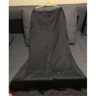 Le Chateau Black Satin Full Length Skirt