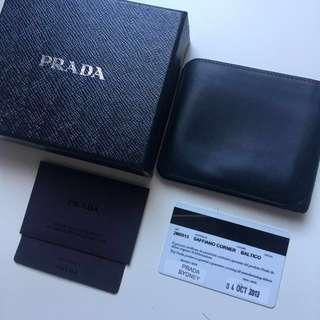100% Auth designer Prada men's dark navy blue saffiano wallet $600 rrp