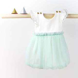 Le Petit Society Mint Bubble Tulle Dress with Silver Glitter Band for Baby Girl